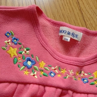SHOO・LA・RUE - 【美品】110  シューラルー トレーナー 花 刺繍  サーモンピンク 裏起毛