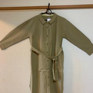 ★新品★ノースオブジェクト 衿付きワンピースコート Lサイズ(ひざ丈ワンピース)