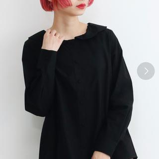 merlot - フラワー襟長袖ブラウス ブラック 黒