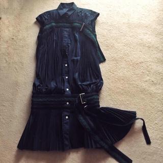 sacai - sacai 15aw プリーツ シャツ ドレス ワンピース 刺繍 ベルト