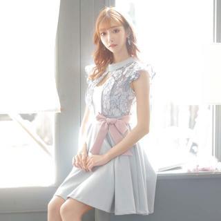 デイジーストア(dazzy store)の明日花キララ着用リボン風付きパステルフラワーAラインミニドレス(ミニドレス)