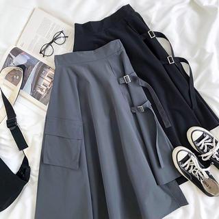 dholic - 韓国ファッション 変形スカート 黒 フリー