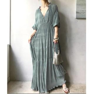 Ameri VINTAGE - AMERI SHIRRING PLEATS DRESS ミント ブルー M