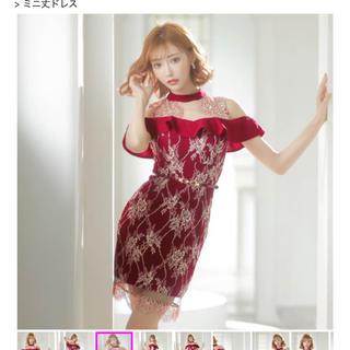 デイジーストア(dazzy store)のdazzy フラワー総レースダークカラータイトミニドレス ワインレッド(ナイトドレス)