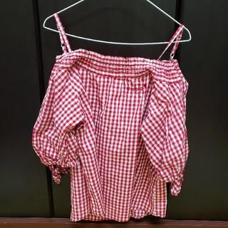 レピピアルマリオ(repipi armario)のレピピアルマリオ オフショル ロングTシャツ トップス ギンガムチェック(シャツ/ブラウス(半袖/袖なし))
