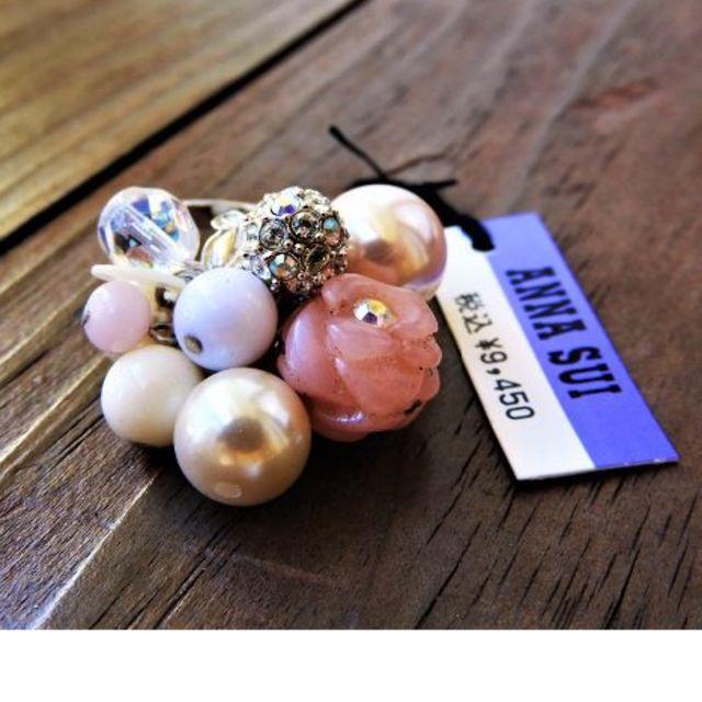 ANNA SUI(アナスイ)の新品アナスイ アンティーク天然石ピンクオパール薔薇ジャラジャラリング レディースのアクセサリー(リング(指輪))の商品写真