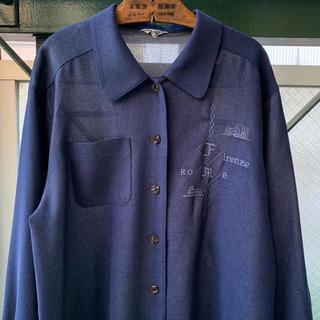 ART VINTAGE - 90s 刺繍シャツ 昭和レトロ デニムブルー 丸襟 レーヨンデニムシャツ 日本製
