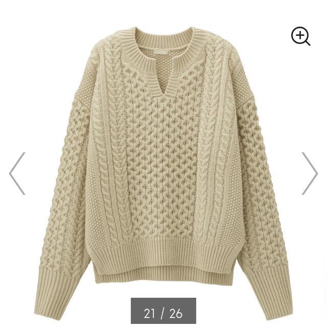 GU(ジーユー)のケーブルキーネックセーター レディースのトップス(ニット/セーター)の商品写真