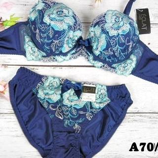 NK43★A70 M★ブラ ショーツ ダイナミックローズ刺繍 紺×青(ブラ&ショーツセット)