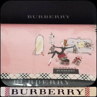 BURBERRY - BURBERRYハンカチ・刺繍ピンク