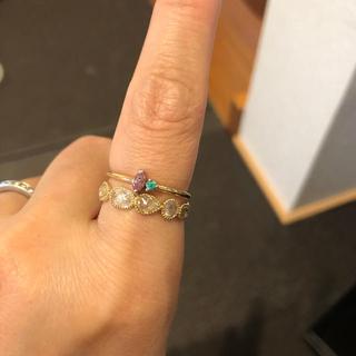 天然ピンクダイヤモンドパライバトルマリン、18k 2つセット(リング(指輪))
