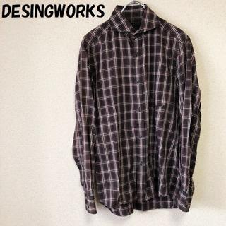 デザインワークス(DESIGNWORKS)の【人気】デザインワークス チェック柄 シャツ ブラックxホワイトxレッド 46(シャツ)
