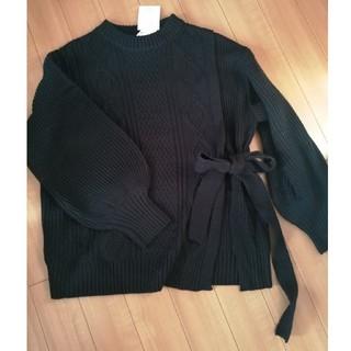 新品☆ケーブル編みぽわん袖スリット入りリボンニット 黒 Mサイズ