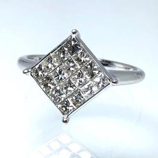 k18WG ダイヤモンドリング 19号 1ct ミステリーセッティング 指輪(リング(指輪))