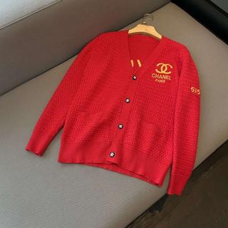シャネル(CHANEL)のChanel長い赤い色メリヤスセーター(ニット/セーター)