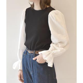 ダブルクローゼット(w closet)の袖異素材テレコプルオーバー(シャツ/ブラウス(半袖/袖なし))