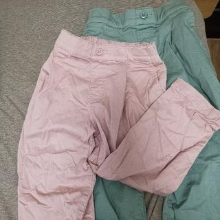 UNIQLO - ユニクロキッズパンツ110cmピンク・薄緑【2着セット】