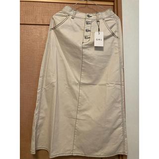 GRL - 配色ステッチチノツイルセミフレアスカート