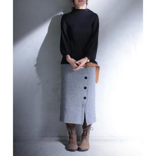 アンティカ(antiqua)のアンティカボタンデザインニットスカート新品antiqua(ひざ丈スカート)