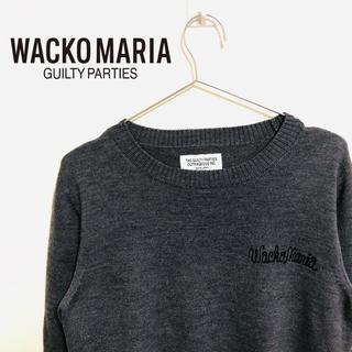 ワコマリア(WACKO MARIA)の【オススメ‼️】ワコマリア 薄手 ニット ワンポイント ロゴ 刺繍 グレー(ニット/セーター)