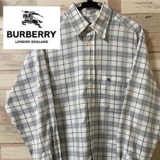 バーバリー(BURBERRY)の【バーバリー】シルバーチェックシャツメンズM(シャツ)