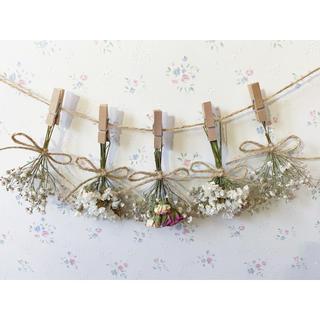 3種のピンクのバラとかすみ草のホワイトドライフラワーガーランド♡スワッグ♡壁掛け