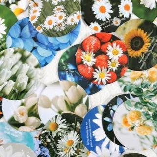 BUNNY海外文具 花屋 丸フレークシール 約45枚 お花 写真 丸シール