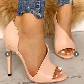 ESPERANZA - オープントゥ パンプス ピンク ベージュ 大きめ 靴 インポート 海外 キャバ