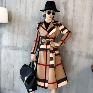 XL カーキ トレンチコート チェック ロングコート 女優コート ウエストリボン(トレンチコート)