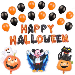 ハロウィン バルーン 33点 ミッキ オレンジ ブラック パーティー 風船 装飾(ウェルカムボード)