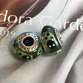 スワロフスキー(SWAROVSKI)のパンドラ PANDORA緑ムラノガラスてんとう虫チャームセット(チャーム)
