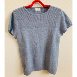 セーター ニット 半袖 水色系 LLサイズ 冬服 トップス レディース(ニット/セーター)
