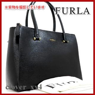 フルラ(Furla)のフルラ トートバッグ ハンドバッグ 美品 ブラック 黒 レザー ダブルファスナー(トートバッグ)