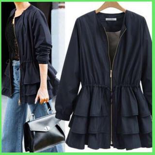 ☆売れ筋☆裾フリル ジャケット コート アウター ブルゾン レディース(ブルゾン)