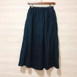 MUJI (無印良品) - 無印良品 オーガニックリネン ロングスカート ネイビー S