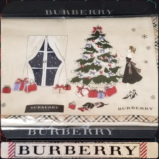BURBERRY - BURBERRYハンカチ☆刺繍(クリスマス)