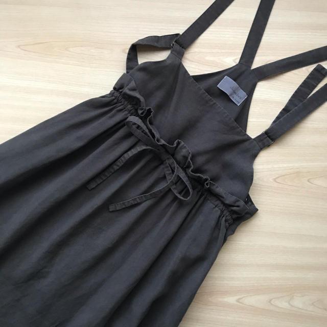 chambre de charme(シャンブルドゥシャーム)のchambre de charme ウエストフリル吊りスカート スミクロ レディースのスカート(ロングスカート)の商品写真