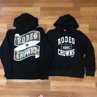 RODEO CROWNS - ロデオクラウンズワイドボウル★パーカー2点セット バックプリント カジュアル 黒