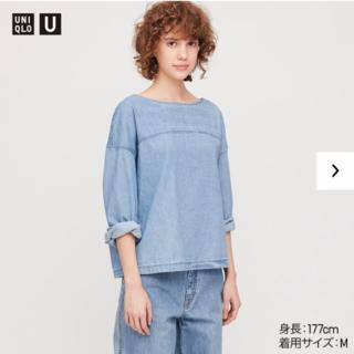 ユニクロU デニムボートネックブラウス ブルー Mサイズ(Tシャツ(長袖/七分))