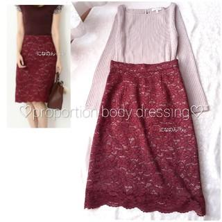 PROPORTION BODY DRESSING - プロポーションボディドレッシング レース×チェック お洒落なボルドーのスカート
