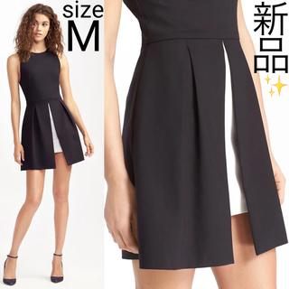 アリスアンドオリビア(Alice+Olivia)の新品 alice+olivia スリット モノトーン ワンピース ドレス(ひざ丈ワンピース)