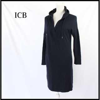 アイシービー(ICB)のICB★スキッパー襟 フード付き アンゴラ ニット ワンピース 紺 S(ひざ丈ワンピース)