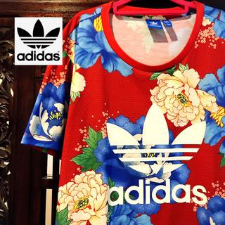 adidas - アディダス 赤 花柄 Tシャツ タンクトップ ファーム コラボ 和柄 ML