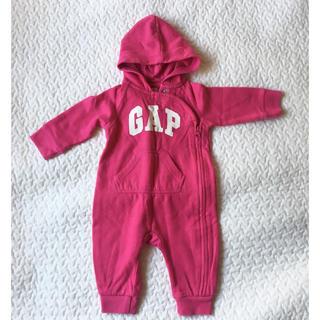 babyGAP - baby gap ギャップ ロンパース カバーオール  裏起毛 ピンク 60
