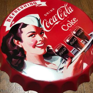 コカコーラ(コカ・コーラ)のコカコーラ ダイナー 王冠 ブリキ看板 φ350(その他)