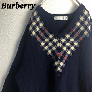 BURBERRY - 古着 バーバリー ケーブルニット セーター チェック柄 ウールセーター