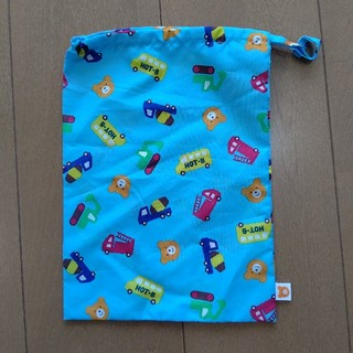 ミキハウス(mikihouse)のミキハウス MIKI HOUSE 水色 巾着 物入れ 袋 働く車 ショベルカー(ランチボックス巾着)