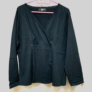 ニッセン(ニッセン)の大きいサイズ カシュクール シャツ ブラック(シャツ/ブラウス(長袖/七分))