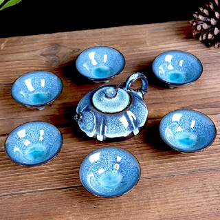 功夫茶釉窑变建灯陶磁器お茶器品茗杯湯飲み茶碗ポット(食器)