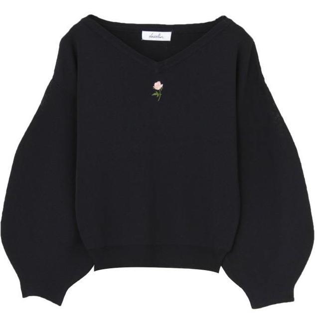 dazzlin(ダズリン)のダズリン dazzlin ヴィンテージローズ刺繍 ニット プルオーバー ネイビー レディースのトップス(ニット/セーター)の商品写真